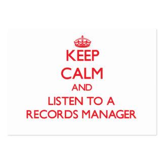 Guarde la calma y escuche un encargado de expedien plantillas de tarjeta de negocio