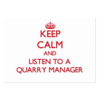 Guarde la calma y escuche un encargado de la mina tarjetas de negocios