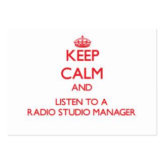 Guarde la calma y escuche un encargado de radio de plantillas de tarjetas de visita