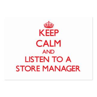 Guarde la calma y escuche un encargado de tienda tarjetas personales