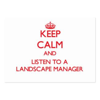 Guarde la calma y escuche un encargado del paisaje tarjeta de negocio