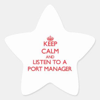 Guarde la calma y escuche un encargado del puerto pegatinas forma de estrella personalizadas