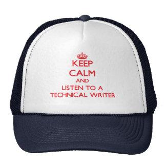 Guarde la calma y escuche un escritor técnico gorros bordados