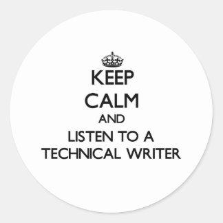 Guarde la calma y escuche un escritor técnico pegatina