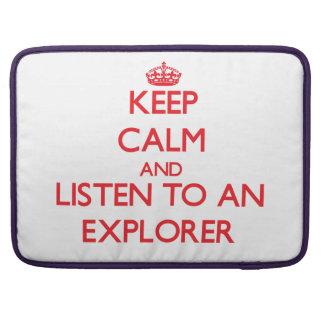 Guarde la calma y escuche un explorador fundas macbook pro