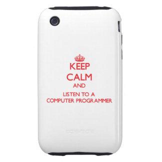 Guarde la calma y escuche un informático iPhone 3 tough protectores