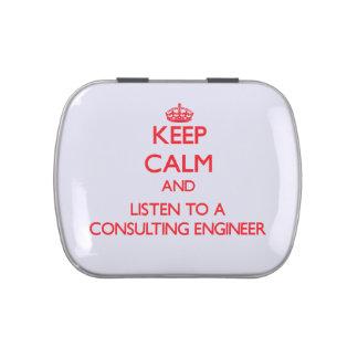 Guarde la calma y escuche un ingeniero asesor jarrones de caramelos