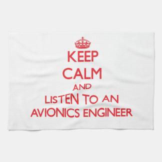 Guarde la calma y escuche un ingeniero de la avión toalla de cocina