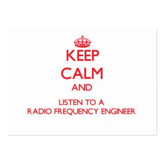 Guarde la calma y escuche un ingeniero de la radio plantillas de tarjetas de visita