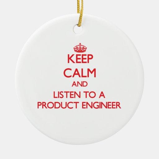 Guarde la calma y escuche un ingeniero del product ornamentos de navidad