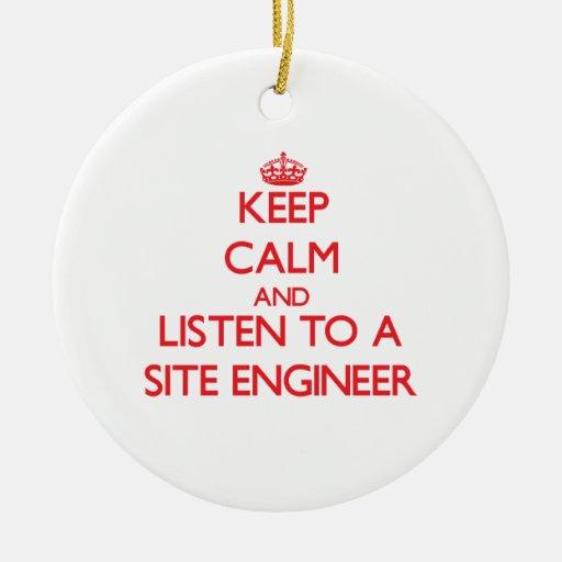 Guarde la calma y escuche un ingeniero del sitio adornos de navidad