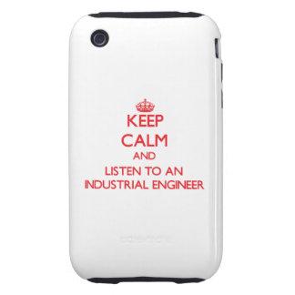Guarde la calma y escuche un ingeniero industrial tough iPhone 3 fundas