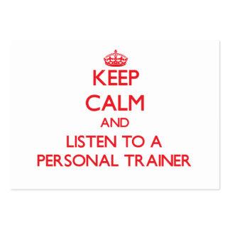 Guarde la calma y escuche un instructor personal tarjetas de visita grandes