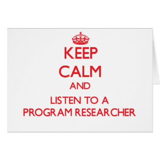 Guarde la calma y escuche un investigador del prog tarjeta de felicitación