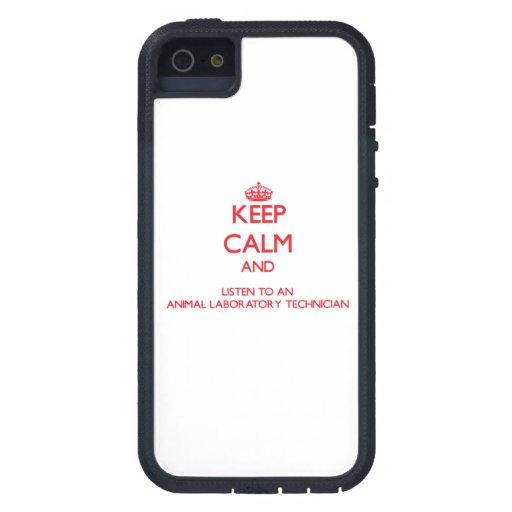 Guarde la calma y escuche un laboratorio animal iPhone 5 carcasa