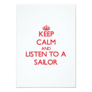"""Guarde la calma y escuche un marinero invitación 5"""" x 7"""""""