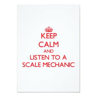Guarde la calma y escuche un mecánico de la escala invitación 12,7 x 17,8 cm