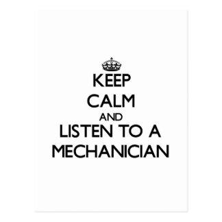 Guarde la calma y escuche un mecánico postal