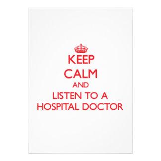 Guarde la calma y escuche un médico de hospital invitacion personal