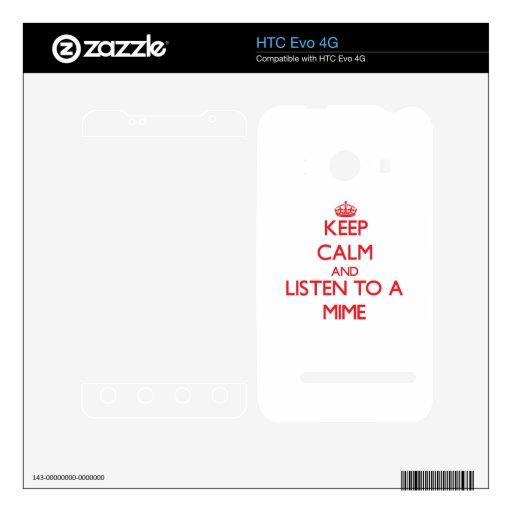 Guarde la calma y escuche un Mime Calcomanías Para El HTC Evo 4G