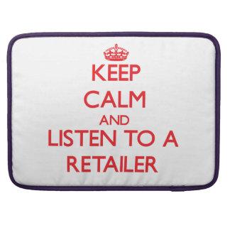 Guarde la calma y escuche un minorista fundas para macbooks