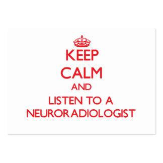 Guarde la calma y escuche un neuroradiólogo plantilla de tarjeta de negocio