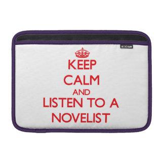 Guarde la calma y escuche un novelista fundas macbook air