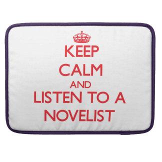 Guarde la calma y escuche un novelista fundas macbook pro