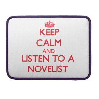 Guarde la calma y escuche un novelista funda para macbook pro