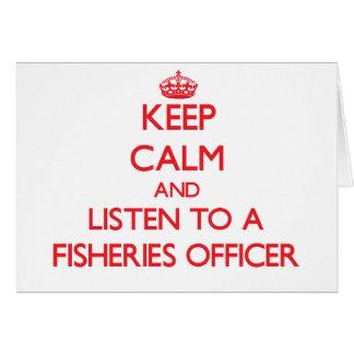 Guarde la calma y escuche un oficial de las indust tarjeta de felicitación