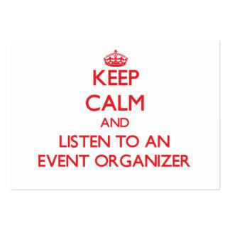 Guarde la calma y escuche un organizador del acont tarjetas de visita grandes