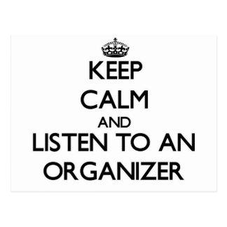 Guarde la calma y escuche un organizador postal