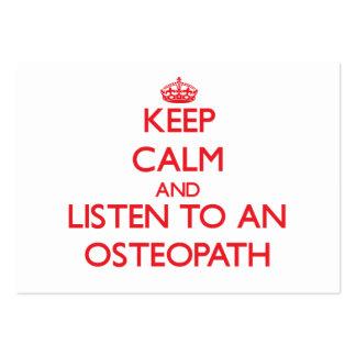 Guarde la calma y escuche un osteópata tarjetas de visita grandes