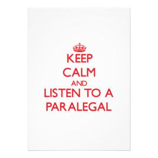 Guarde la calma y escuche un Paralegal Comunicado Personalizado