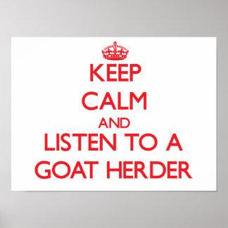 Guarde la calma y escuche un pastor de la cabra poster