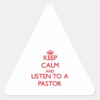 Guarde la calma y escuche un pastor colcomanias de trianguladas