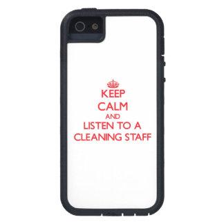 Guarde la calma y escuche un personal de limpieza iPhone 5 Case-Mate funda