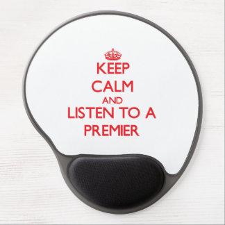 Guarde la calma y escuche un primero ministro alfombrilla con gel
