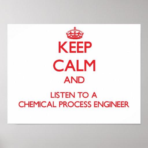 Guarde la calma y escuche un proceso químico Engin Póster