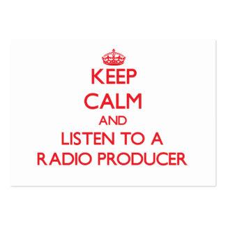 Guarde la calma y escuche un productor de radio plantilla de tarjeta de visita