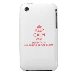 Guarde la calma y escuche un programador de las mu iPhone 3 Case-Mate protectores