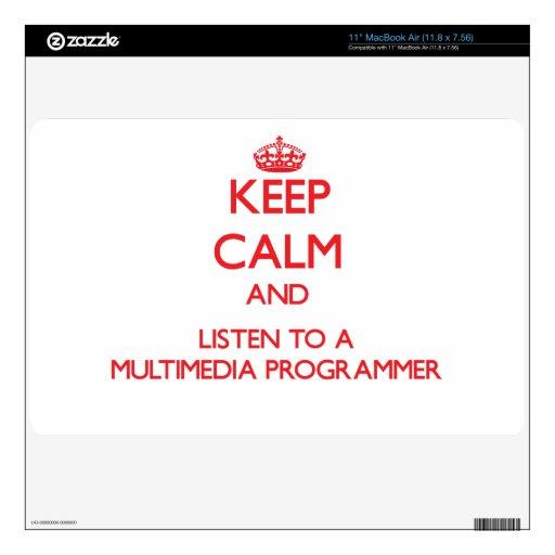 Guarde la calma y escuche un programador de las mu calcomanías para MacBook
