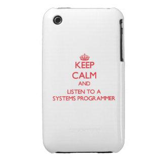 Guarde la calma y escuche un programador iPhone 3 Case-Mate protectores