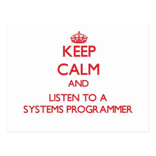 Guarde la calma y escuche un programador tarjetas postales