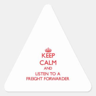 Guarde la calma y escuche un promotor de carga calcomanía triangulo personalizadas
