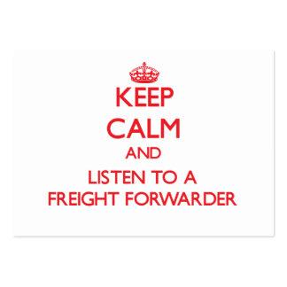 Guarde la calma y escuche un promotor de carga tarjetas de visita grandes