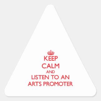 Guarde la calma y escuche un promotor de los artes colcomanias triangulo