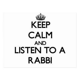 Guarde la calma y escuche un rabino tarjetas postales