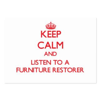 Guarde la calma y escuche un restaurador de los mu tarjetas de visita grandes