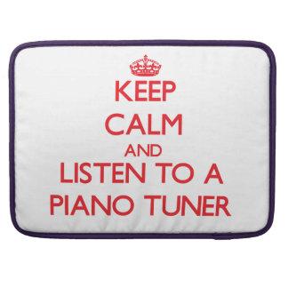 Guarde la calma y escuche un sintonizador de piano funda para macbook pro